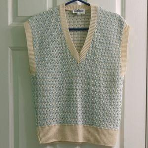Vintage Made in USA Sweater Vest Cream Blue Yarn